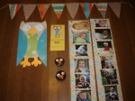 The owl decor, monthly pictures, invitation, cupcakes, etc.