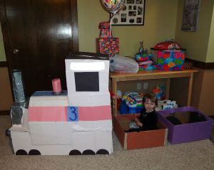cardboard choo choo side view