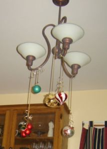 Chandelier decor with pretty ornaments