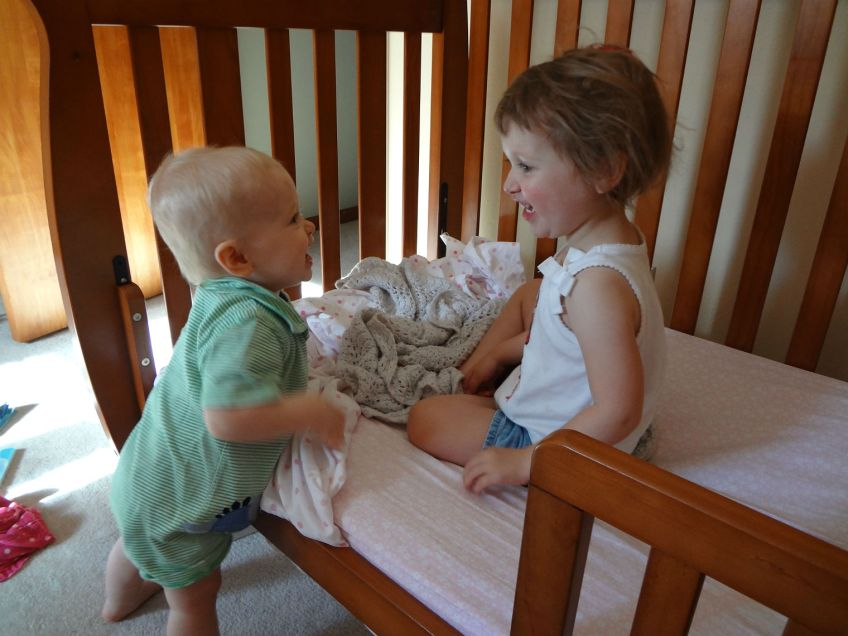 waking up big sister from her nap