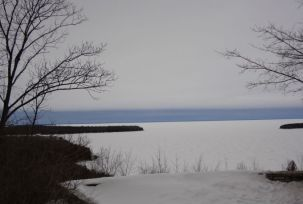 View of the frozen lake and Horseshoe Island from the bluffs