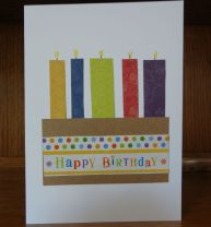 Final birthday card with scrap paper candles and wrapping paper
