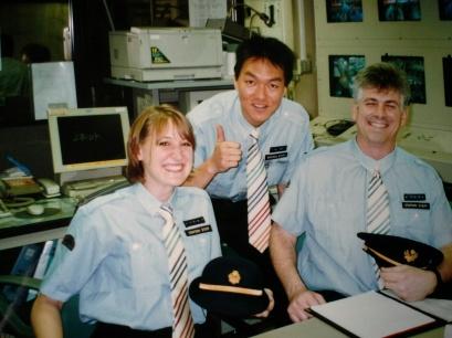 in uniform at Tokyo station