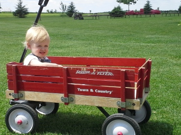 playing in a wagon