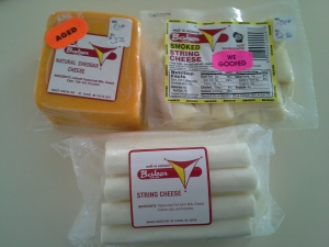 Fresh String Cheese, Smoked String Cheese, andAged Cheddar