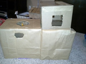 phase 2 covered diaper box with brown grocery bags