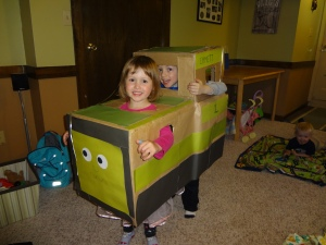 Decorated with green and gray paper final cardboard train costume