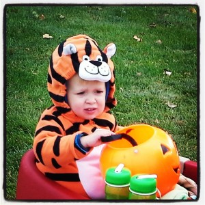 Little brother dressed as a tiger