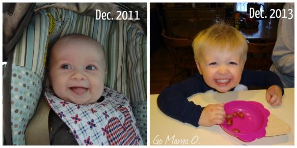 Image of my son two years apart.