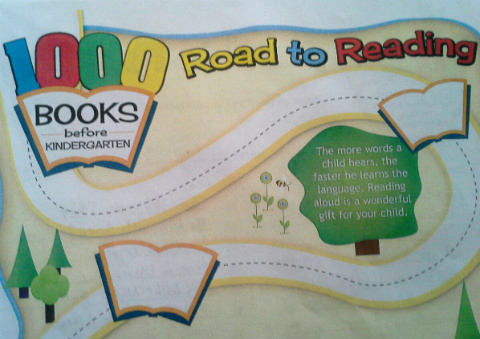 Front of the reading log in 1000 Books Before Kindergarten.