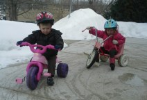 riding bikes by the snowbanks