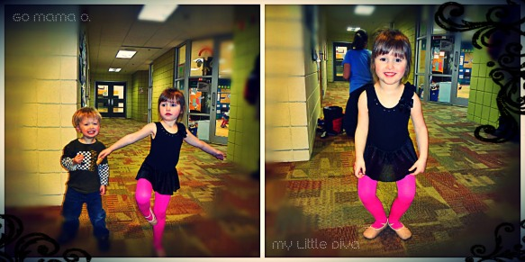 "My Ballerina Diva and her little brother ""photo-bombing"" her pic"