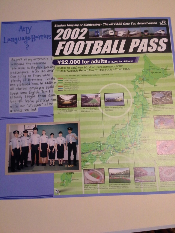My scrapbook page including a guide for the 2002 World Cup fans