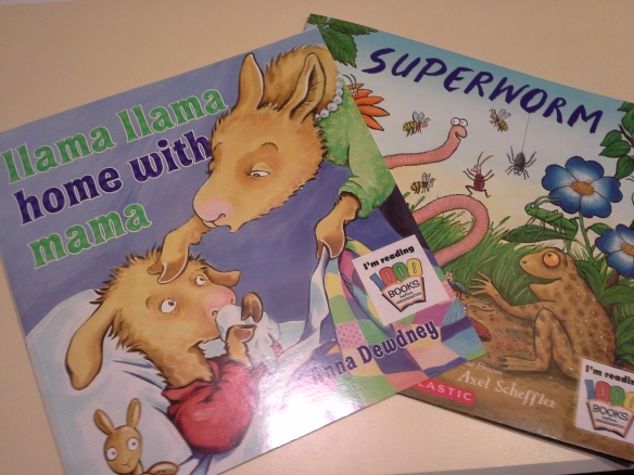 "Books that my kids picked out for their ""listening"" to so many stories."