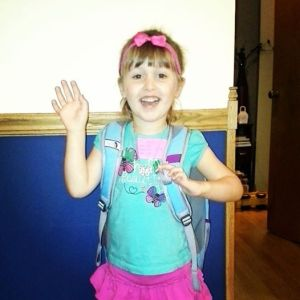 Big sister waving goodbye on her 1st day of school. Sniff. Sniff.