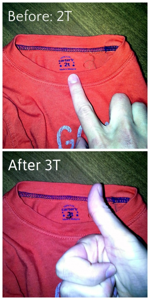 changing little brother's shirt to 3T