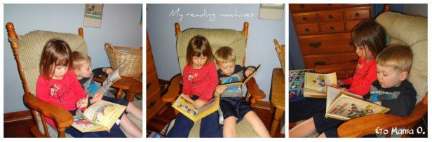 kids reading together in a chair