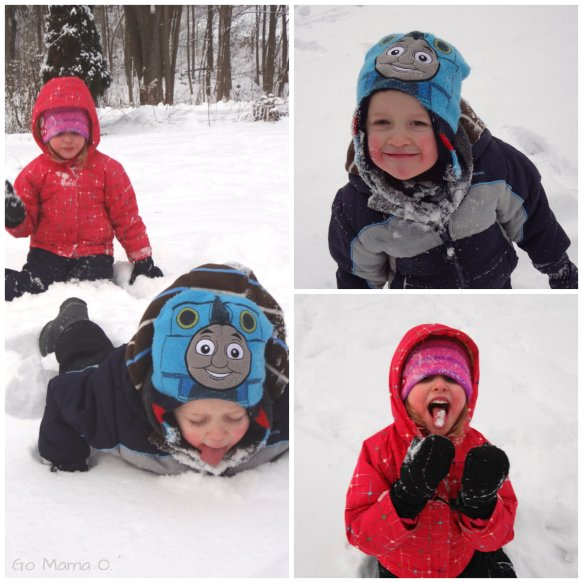 My kids sure love playing in and eating the snow!