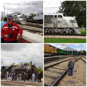 Two train lovers by the Zephyr and Steam Engine