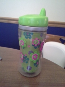 My son & daughter had matching green & hot pink sippy cups.