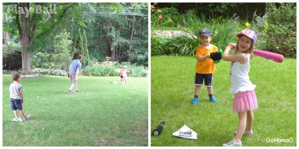 softball in the backyard