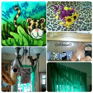 Jungle birthday party collage