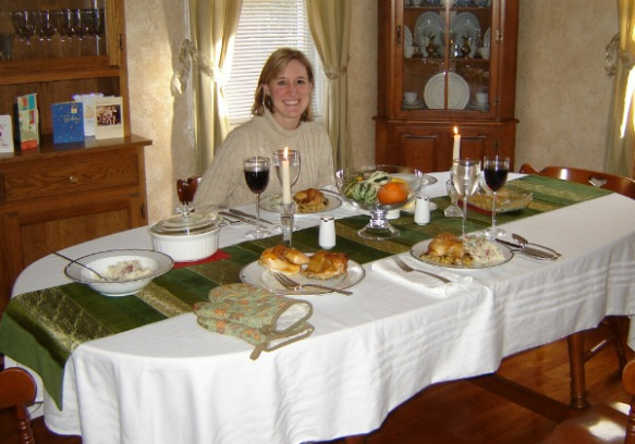 Mrs. O and Kitchen table Dec. 2006