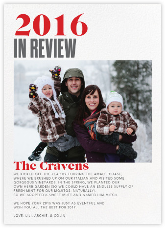 Year in Review holiday photo-card -Paperless Post