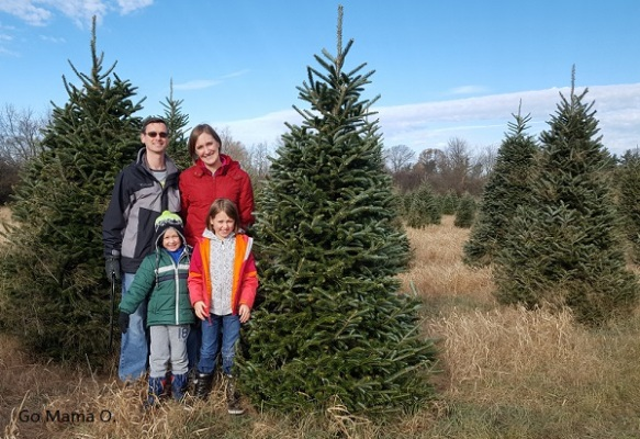 Daddy, Mama O, our kids cutting down our tree