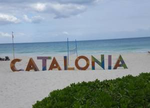 Catalonia letters on the beach