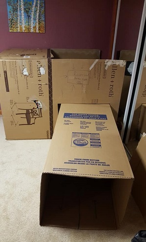 Water heater box as part of a fort for kids