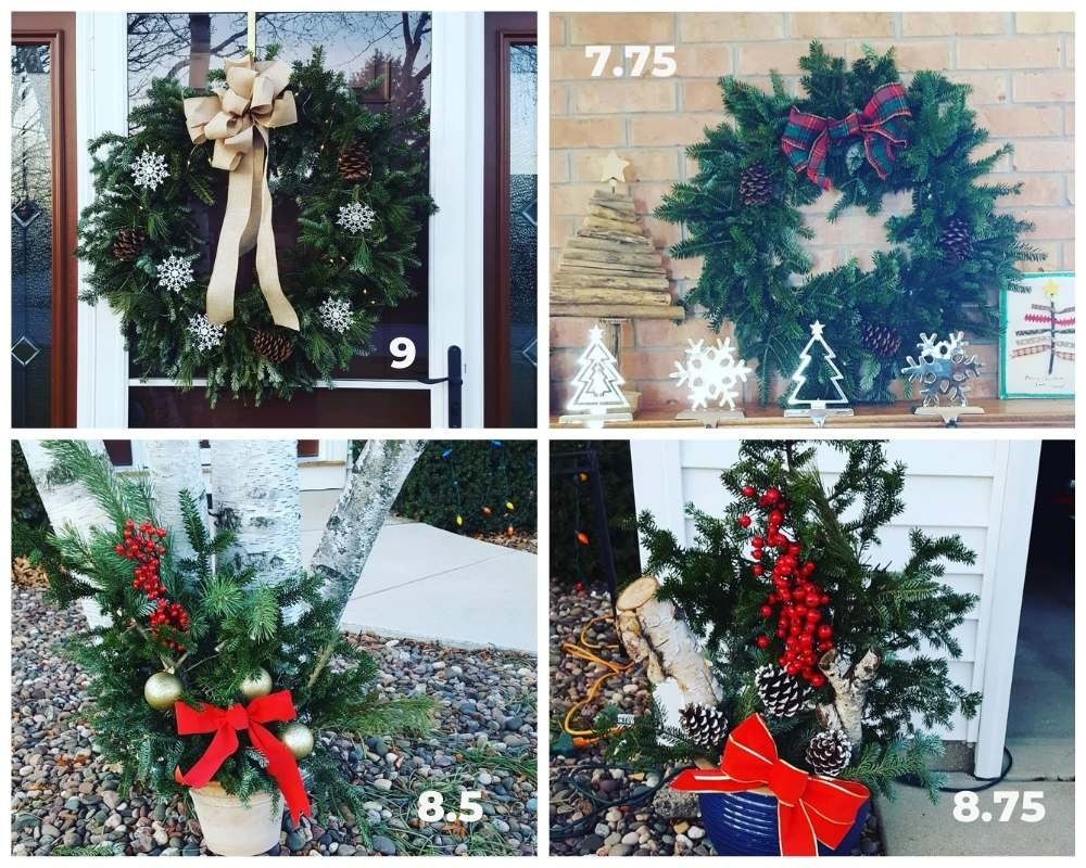 My holiday wreaths and planters graded